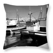 Fishing Boats Monochrome Throw Pillow