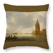Fishing Boats Off An Estuary Throw Pillow