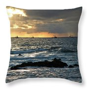 Fishing Boats Off Point Lobos Throw Pillow