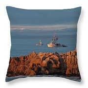 Fishing Boats On Monterey Bay Throw Pillow