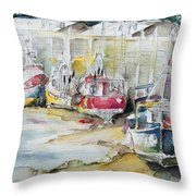 Fishing Boats Settled Aground During Ebb Tide Throw Pillow