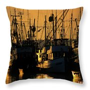 Fishing Boats Sunset Light Throw Pillow