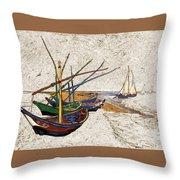 Fishing Boats Van Gogh Digital Art Throw Pillow