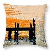 Fishing Boy Throw Pillow