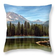 Fishing By Mount Lassen Throw Pillow