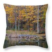 Fishing Dock In The Fall Throw Pillow