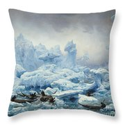 Fishing For Walrus In The Arctic Ocean Throw Pillow