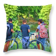 Fishing Friends, Azay Le Rideau, Loire Valley, France Throw Pillow