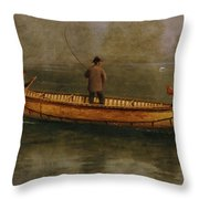 Fishing From A Canoe Throw Pillow by Albert Bierstadt