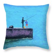Fishing From The Pier Throw Pillow