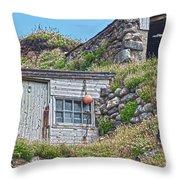 Fishing Huts Cape Cornwall Throw Pillow