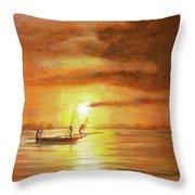 Fishing In Zanzibar Throw Pillow