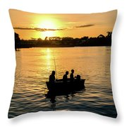 Fishing In Auckland Throw Pillow