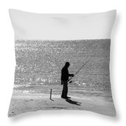 Fishing In Black And White Throw Pillow