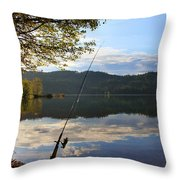 Fishing In Early Morning Throw Pillow