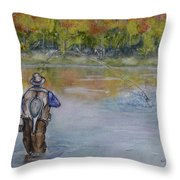 Fishing In Natures Beauty Throw Pillow
