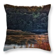 Fishing In The Fog Throw Pillow