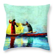 Fishing In The Nile Throw Pillow