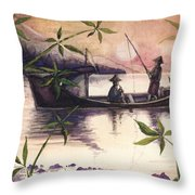 Fishing In The Sunset   Throw Pillow