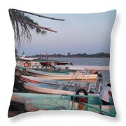 Fishing In Veracruz Throw Pillow