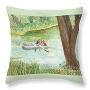 Fishing Lake Tanko Throw Pillow