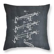Fishing Lure Patent 1904 Chalk Throw Pillow