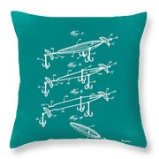 Fishing Lure Patent 1904 Green Throw Pillow