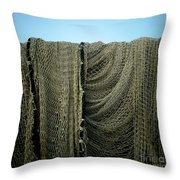 Fishing Net Throw Pillow by Bernard Jaubert