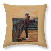 Fishing Off Sausalito Boardwalk Throw Pillow