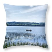 Fishing On Lake Carmi Throw Pillow