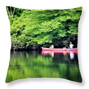 Fishing On Shady Throw Pillow