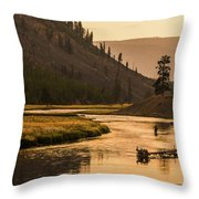 Fishing On Smokey Madison River Throw Pillow