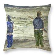 Fishing On The Beach Throw Pillow