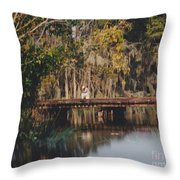 Fishing On The Bridge Throw Pillow
