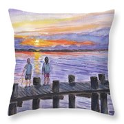 Fishing On The Dock Throw Pillow