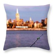 Fishing On The Hudson Throw Pillow