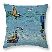 Fishing Pelican And Seagulls Throw Pillow
