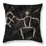 Fishing Petroglyph Throw Pillow