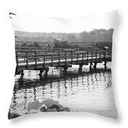 Fishing Pier And Train Tracks Throw Pillow