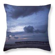 Fishing Pier At Dawn Throw Pillow