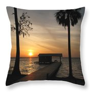 Fishing Pier At Dusk Throw Pillow