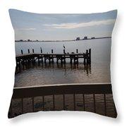 Fishing Pier Throw Pillow