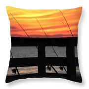 Fishing Poles Mount Sinai New York  Throw Pillow