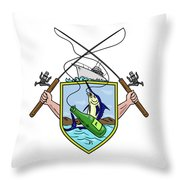 Fishing Rod Reel Blue Marlin Beer Bottle Coat Of Arms Drawing Throw Pillow