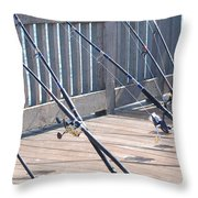 Fishing Rods Throw Pillow