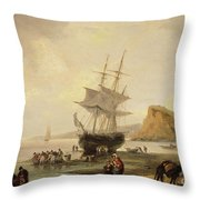 Fishing Scene, Teignmouth Beach And The Ness, 1831 Throw Pillow