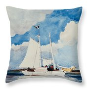 Fishing Schooner In Nassau Throw Pillow