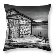 Fishing Shack And Wharf In Norris Point, Newfoundland Throw Pillow