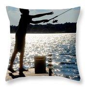 Fishing Silhouette Throw Pillow