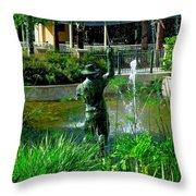 Fishing Statue Throw Pillow
